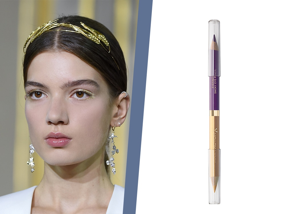 trucco eyeliner viola e oro