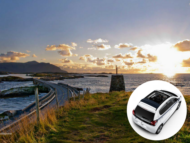 Atlanterhavsveien strada atlanticaalta Norvegia dei Fiordi con la nuova Peugeot 108 Collection