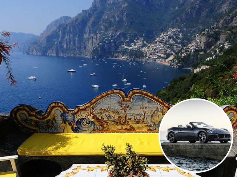Costiera amalfitana sulla panoramica affascinante Italia con Maserati GranTurismo MY 2018