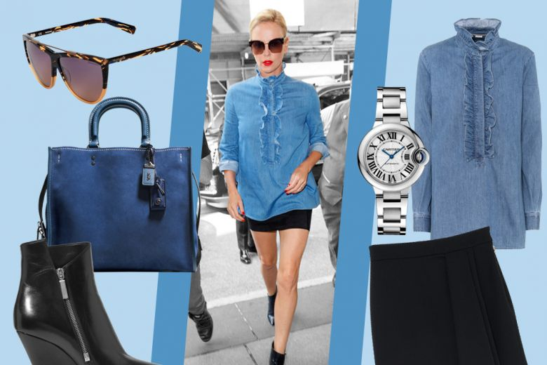 Blusa in denim e minigonna: il look glam di Charlize Theron