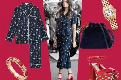 Chic in pigiama di seta come Millie Brady: get the look!
