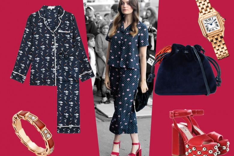 Chic in pigiama di seta come Millie Brady: get the look!