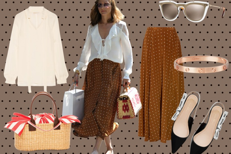 """Olivia Palermo: look """"ladylike"""" con gonna a pois e ballerine sling-back"""