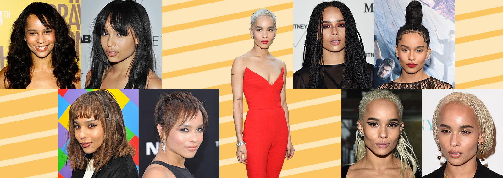 zoe kravitz evoluzione beauty look make up capelli collage_desktop