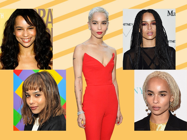 zoe kravitz evoluzione beauty look make up capelli collage_mobile