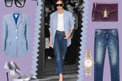 Victoria Beckham: blazer maschile, jeans e tacchi alti