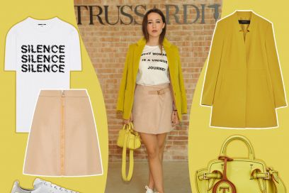 Aurora Ramazzotti in giallo e rosa Trussardi: get the look!