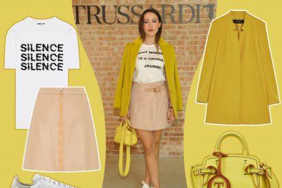 Aurora Ramazzotti in giallo e rosa Trussardi: get the look!