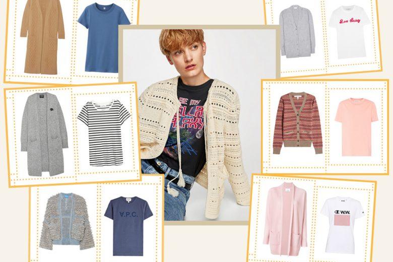 Cardigan + t-shirt: la coppia must per l'autunno