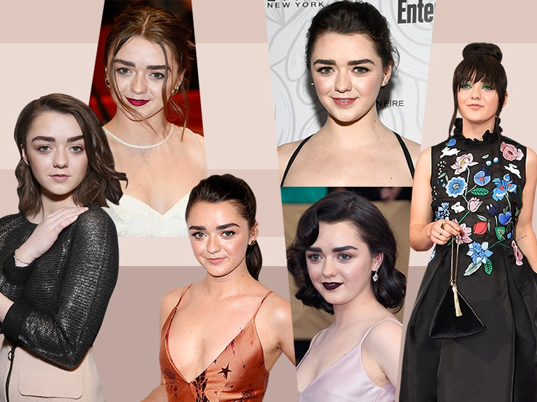 maisie williams evoluzione beauty look trucco capelli collage_mobile