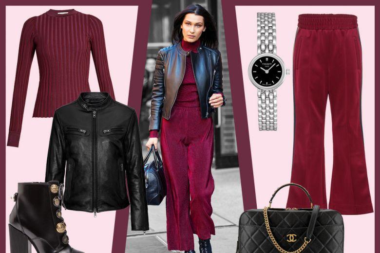 Velluto burgundy e pelle nera: il look di Bella Hadid, tutto da copiare