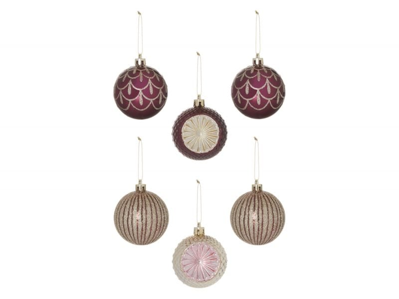 KIMBALL-1374501-6PK glitter bauble decorations copper, grade ROI G FRIT J IB C, wk 01, €5 $6