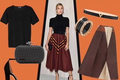 Hailey Baldwin: dolcevita e gonna midi, il look da copiare