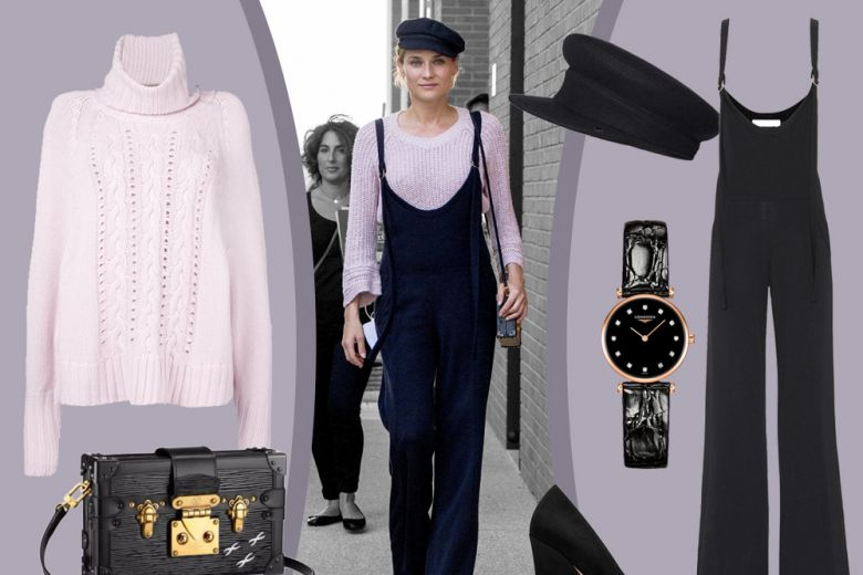 "Diane Kruger: jumpsuit e basco in versione ""french look"""