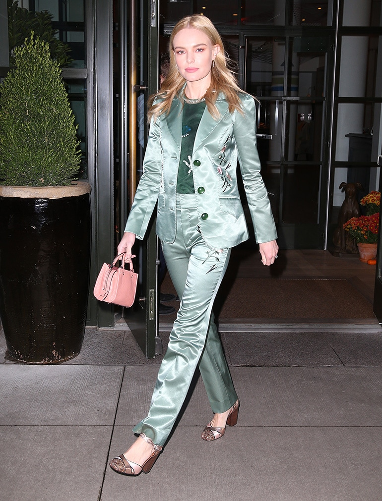 Kate-Bosworth-Coach-SS18-Look-45-Suit,-Mini-Rogue-and-Ankle-Strap-Heel