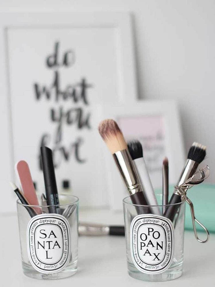 Organizzare lo spazio pennelli makeup