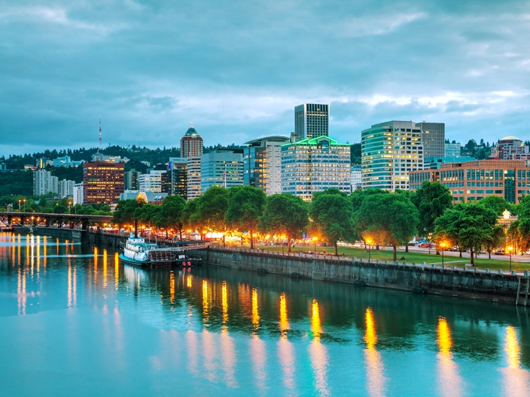 Downtown Portland cityscape at the night time