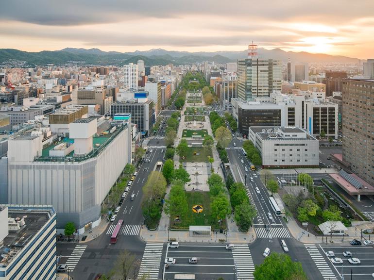 Cityscape of Sapporo at odori Park, Hokkaido, Japan