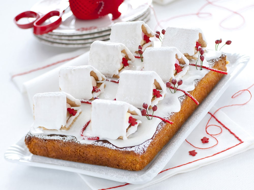Torta-di-Natale-con-casette-glassate