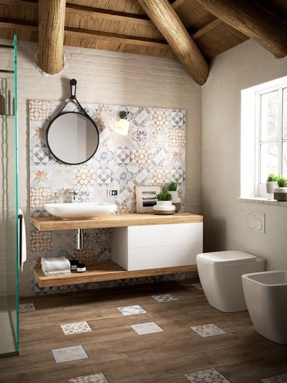 Come abbinare piastrelle e rivestimento in bagno - Rivestimento bagno legno ...