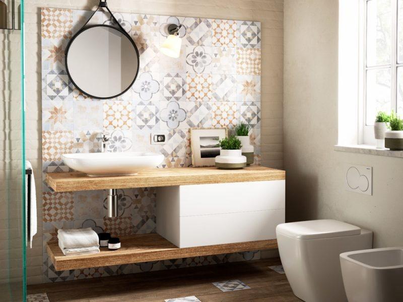 Come abbinare piastrelle e rivestimento in bagno for Piastrelle x bagno foto