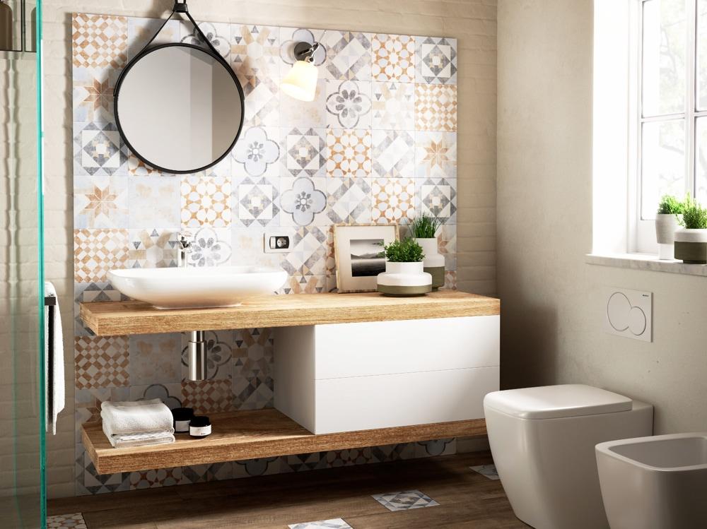 Come abbinare piastrelle e rivestimento in bagno - Rivestimento bagno rustico ...