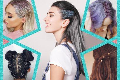 Shimmering glitter hair: le acconciature capelli glitterati per i party