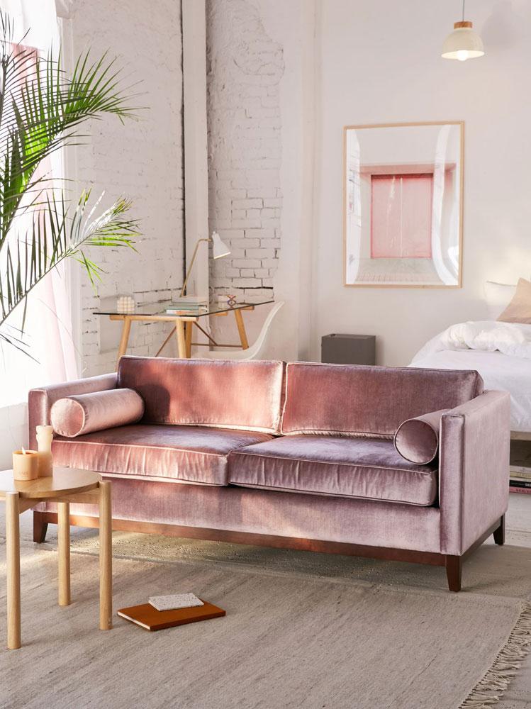 divanetto velluto raso rosa cipria