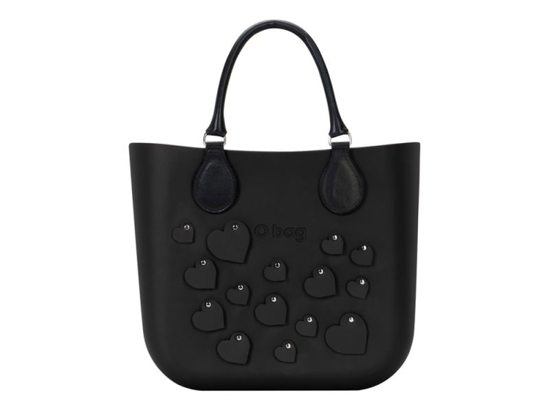 7. O bag mini cuori nera