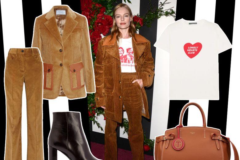 Look anni 70? Ecco Kate Bosworth e il suo completo in velluto a coste