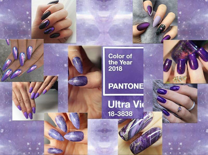 Nail art 2018 le unghie Ultra Violet nel colore dell'anno collage_cover