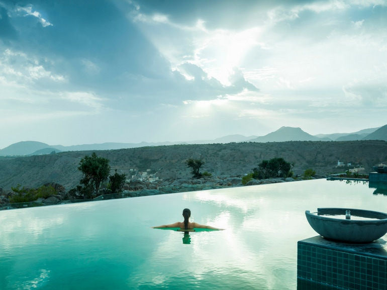 Viaggio in Oman Piscina Anantara Al Jabal Al Akhdar Hotel con Spa meravigliosa