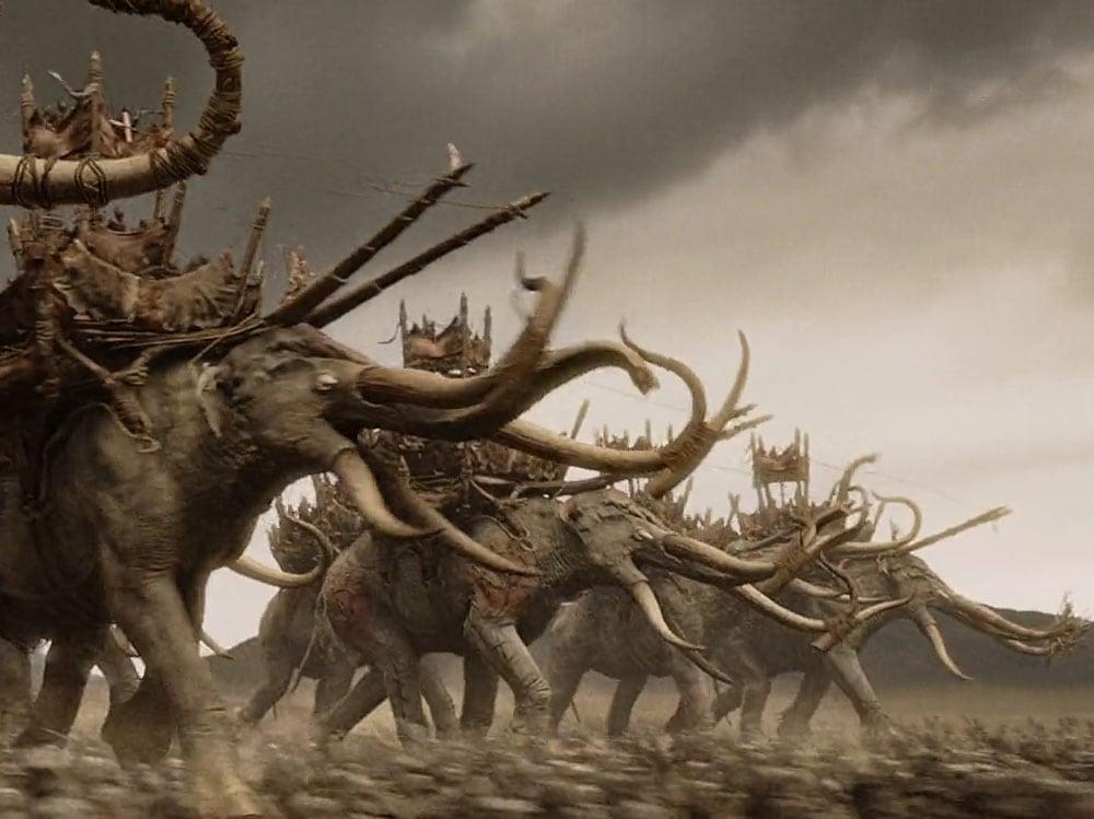 battaglia elefanti signore degli anelli