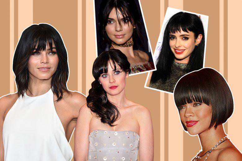 10 beauty look iconici delle star che amano i capelli neri con frangia
