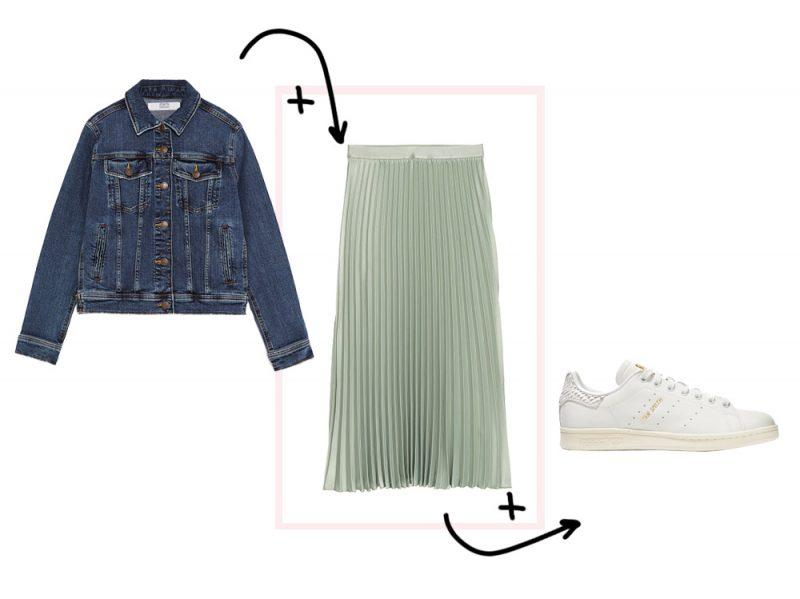 Giacche di jeans con tasche sul petto ZARA + Gonna midi plissettata H M +  Sneakers Stan Smith ADIDAS ORIGINALS b651af57690