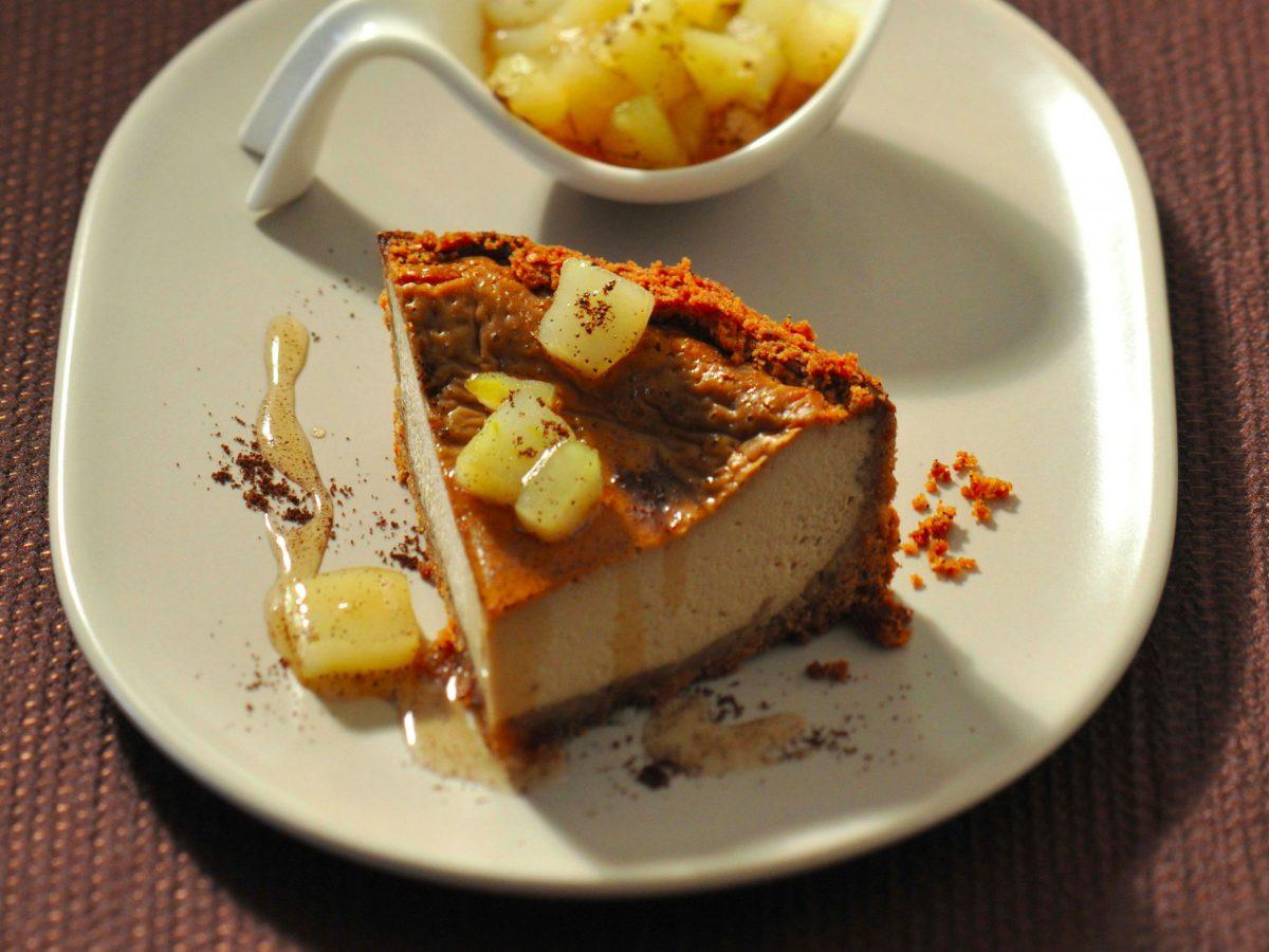 Cheesecake con ricotta pere e caffe