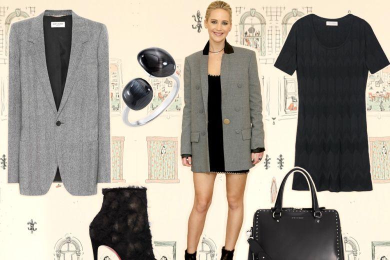 Come abbinare il blazer lungo: ce lo insegna Jennifer Lawrence