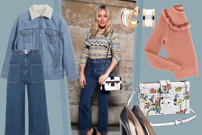 Jeans a vita alta e pullover con volant, il look must have di Sienna Miller