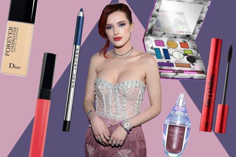 Bella Thorne: copia il look con trucco occhi viola e blu con glitter