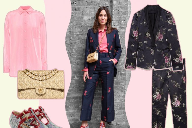 Alexa Chung in completo a fiori e accessori sparkling: get the look!