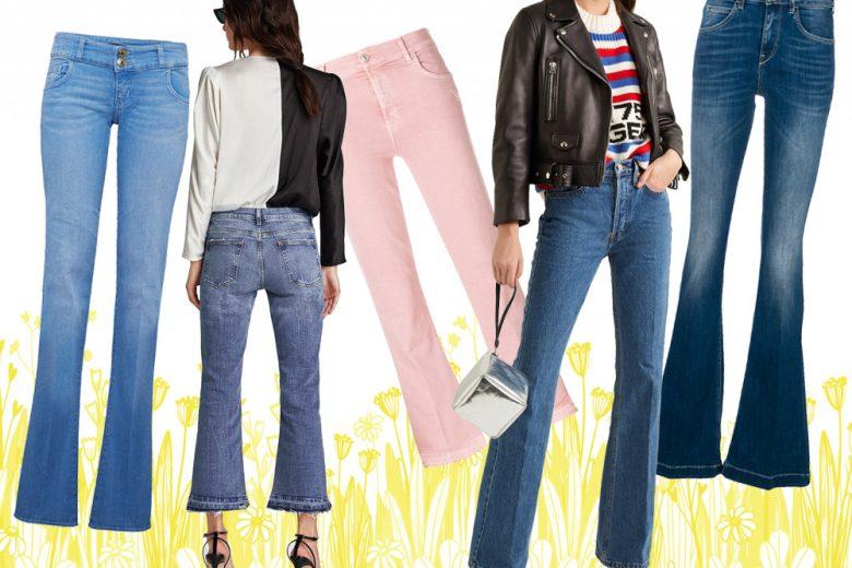Jeans zampa: i modelli di tendenza della Primavera-Estate 2018