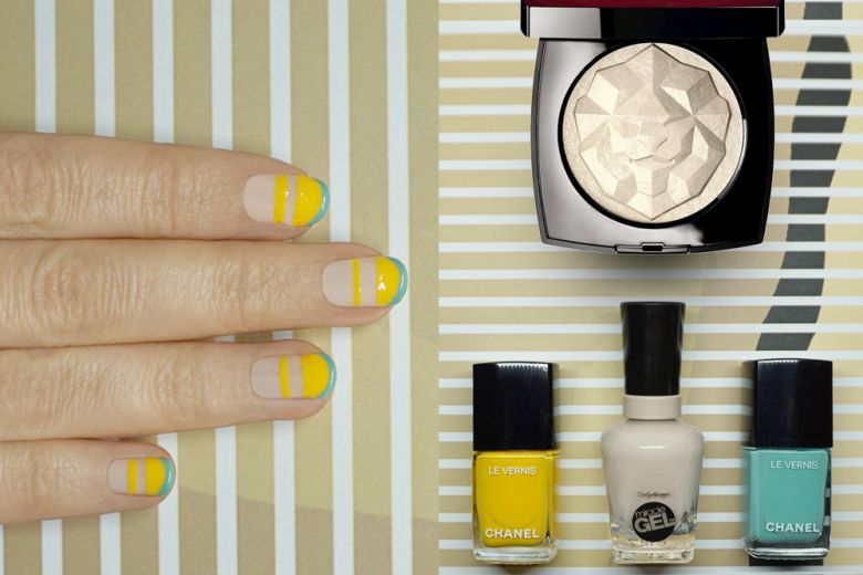 La nail art a righe creata da Non solo Kawaii