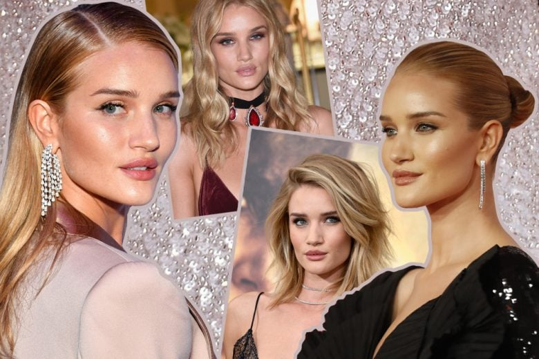Rosie Huntington-Whiteley beauty look: make up e capelli della modella