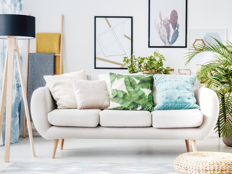 Floral cushion on beige sofa