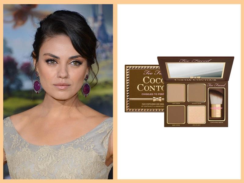 contouring-viso-tondo-too-faced-cocoa-contour-Mila-Kunis