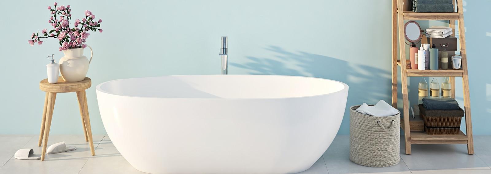 blue spa bathroom. 3d rendering
