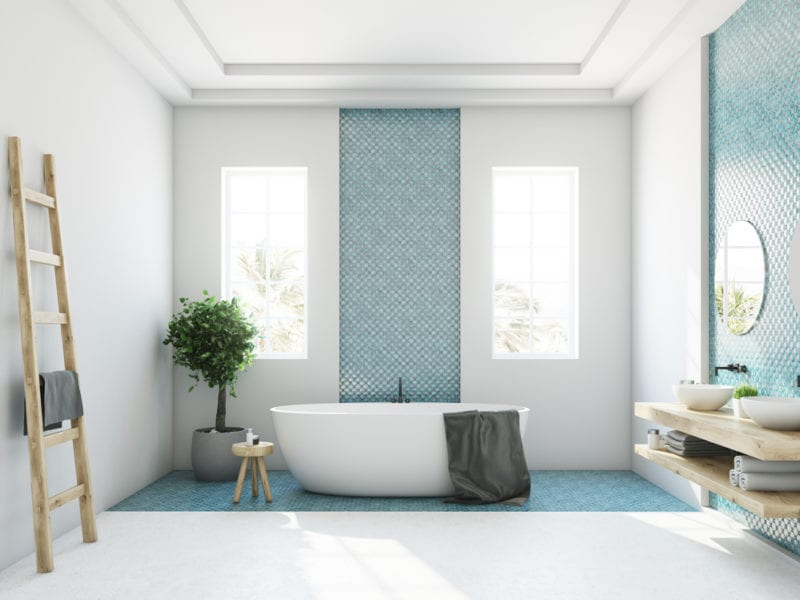 Blue and white bathroom, white tub