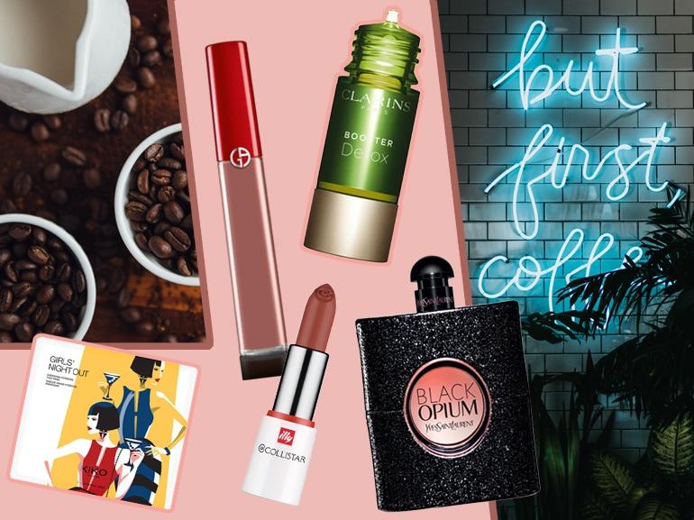 prodotti di bellezza al caffè cover mobile