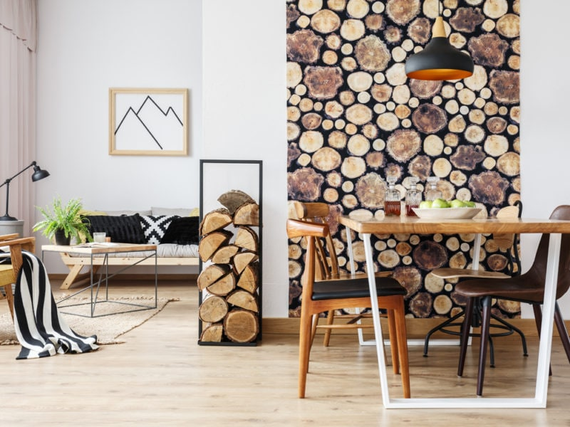 Rustic apartment with table and sofa
