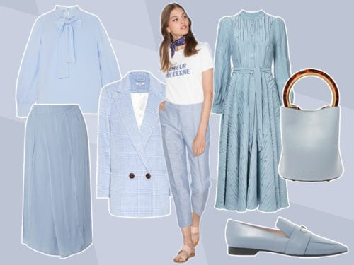 108c092ae65e Il guardaroba autunnale si tinge di raffinate sfumature pastello  l azzurro  polvere sarà il grande protagonista dei look quotidiani.